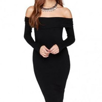 Elastic Boat Neckline Bare-shouldered Dress