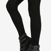 All Black Thigh High Socks