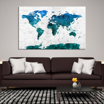 66182 - Large Wall Art World Map Canvas Print- Blue Watercolor World Map Travel Canvas Print- Modern XXL Large Wall Art World Map Canvas Print