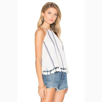 2017 vest for women clothes summer sleeveless shirts lace vest tassel with stripe women's tank tops fashion females shirt YL0216