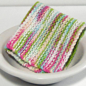 Hand Knit Cotton Dishcloth in shades of pink, green, blue and white,  Large Hand Knit Cotton Washcloth, mix and match to make a custom set