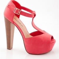 Peep Toe T-Strap SandalHeels - Pomegranate