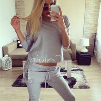 """Calvin Klein"" Fashion Casual Letter Print Round Neck Long Sleeve Sweater Set Two-Piece Sportswear"