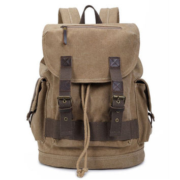 Unisex Solid Double Drawstring Hasp Canvas Rucksack Large Capacity Camping Hiking Travel Backpack