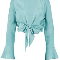 Kelly Textured Satin Flare Sleeve Tie Front | Boohoo