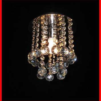Diameter 8 inch Ceiling  Hanging Round Chandelier Pendant Light Lamp Glass Crystal Droplets