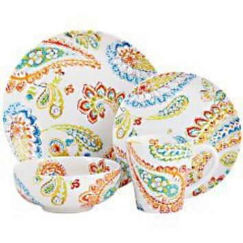 Product Details - Happy Paisley Dinnerware - White