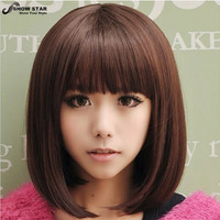 Blonde Short Dark Brown Wig Perruque Naturelle Courte Synthetic Women Cute Fringe Straight Bob Cosplay Wig Heat Resistant Hair