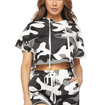 Snap Back Camo Two Piece Set Grey
