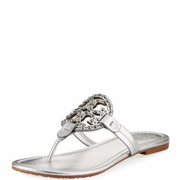 Tory Burch Miller Flat Metallic Leather Slide Sandals with Embellished Logo
