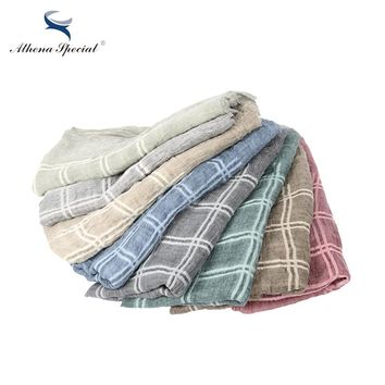 Plaid Style Multi-Color Thick Type Women Scarf Cotton And Hemp Material Girl's Shawls And Scarves Hot Sale