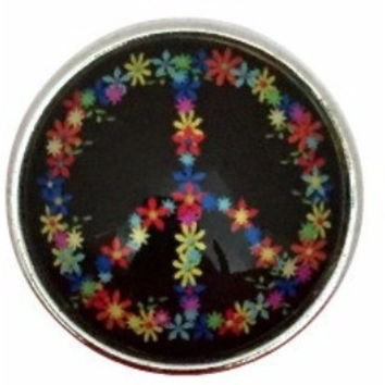Black Flower Peace Sign 20mm for Snap Jewelry