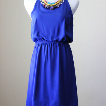 Blue halter chiffon dress by Francesca's, high low hem