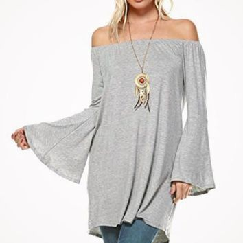 Bell Sleeve Off The Shoulder Flowy Long Peasant Blouse