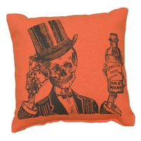 Top Hat Skeleton and His Poison Potion - Decorative 10-in Pillow - Orange with Black Graphic