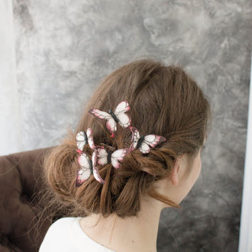 Red White Wedding Butterflies Comb Hair Accessory Decoration Butterflies Crown bridal wedding hair Wedding Comb