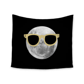 "Chelsea Victoria ""Mr. Moon"" Yellow Illustration Wall Tapestry"