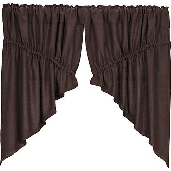 Burlap Chocolate Prairie Swag Curtains