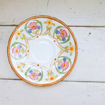 Sutherland china, teacup saucer, floral pattern, fine china, porcelain plate, porcelain dish, china plate, vintage china, small saucer