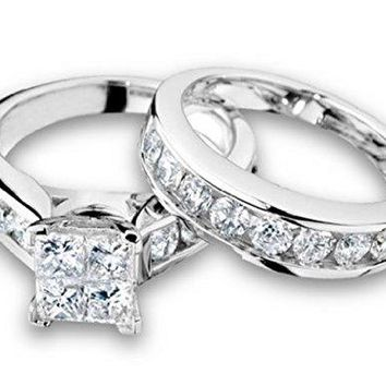 Princess Cut Diamond Engagement Ring and Wedding Band Set