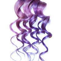 Human Hair Extensions Pastel PURPLE Extensions, Clip In Hair, Dip Dye