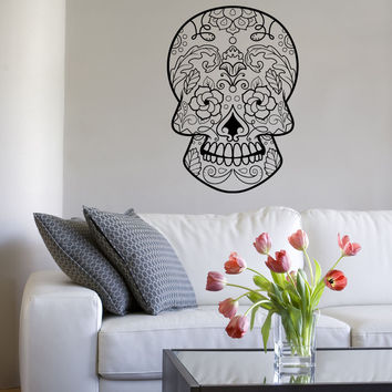 Vinyl Wall Decal Sticker Floral Sugar Skull #1176