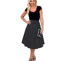 1950s Style Black & White Dotted High Waist Swing Skirt