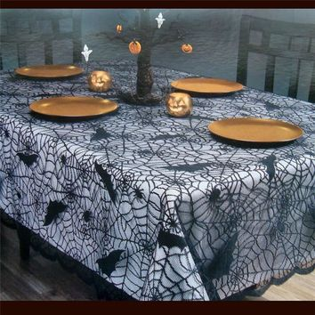 Halloween Decoration Party Decoration  Lace Black Spider Web Halloween Decoration For Home Rectangle Tablecloth Cobweb HOT@40