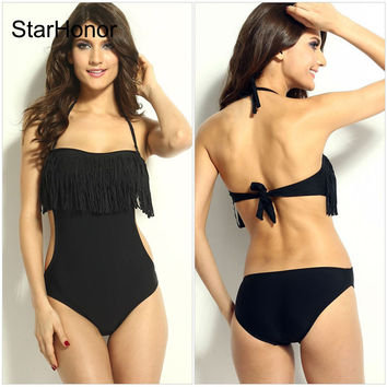 StarHonor Woman Tassel Swimsuit Bandage Patchwork Retro Halter One-piece Bikinis Set Push Up Bquini Bathing Suit Swimwear