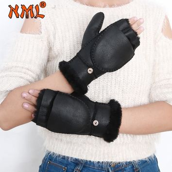 Fingerless Gloves Winter Warm Gloves Women Cover the Hat Designer Genuine Leather Wool Fur Gloves Sheepskin Windproof Mittens
