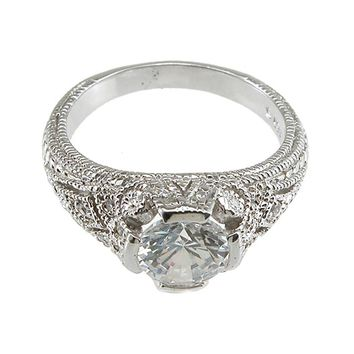 Plutus Brands 925 Sterling Silver Rhodium Finish CZ Brilliant Solitaire Engagement Ring 2 Carat Weight- Size 7