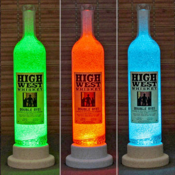 High West Rye Whisky Color Changing LED Remote Controlled Bottle Lamp Bar Light Man Cave Bodacious Bottles