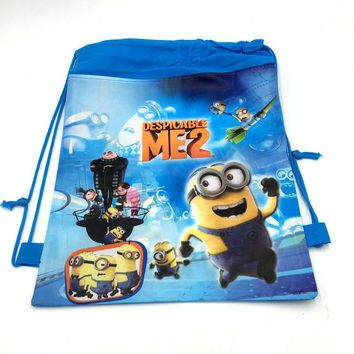 1pc/lot Minions bags children travel school bags kids party favors Minions drawstring backpack bags 27*36cm party gift bag
