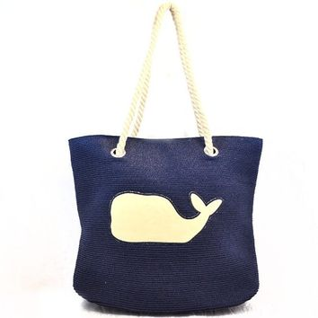Whale Tote Bag with Rope Handle for Women (Navy)