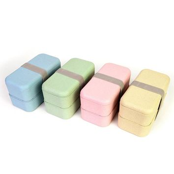 High Quality Japanese Style Double Layer Food Storage Container Microwave Oven Lunch Bento Boxes Lunchbox Dinnerware