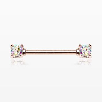 A Pair of Rose Gold Sprinkle Dot Multi-Gem Sparkle Prong Set Nipple Barbell