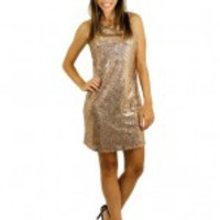 Sleeveless Gold Sequin Dress