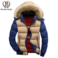 Men's Parkas Winter Casual Fur Detachable Coat Outerwear