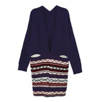Open Front Geometric Pattern Contrast Striped Knitted Cardigan With Pockets