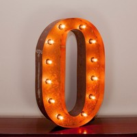 "24"" Letter O Lighted Vintage Marquee Letters with Screw-on Sockets"