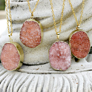 Large Gold Druzy Necklace, Druzy Jewlry, Long Chain, Druzy Pendant, Peach, Pink
