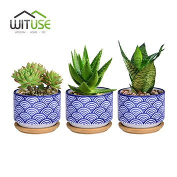 WITUSE Flowerpot + Wooden Pot Tray Japanese Style Wave Pattern Ceramic Garden Pots Succulent Planter Blue White Flower Pot
