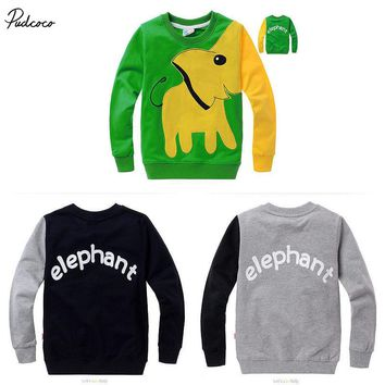 Fashion Kids Boys Elephant Long Sleeve Pullover Tops T-shirt Sweatshirt Coat
