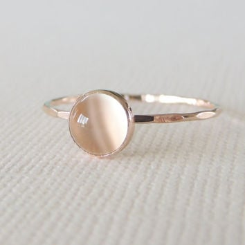 Moonstone Ring, Solid Gold Ring, 14k Rose Gold Ring, White Moonstone Ring, Moonstone Jewelry, Glowing Moonstone Ring, Mystic Bague