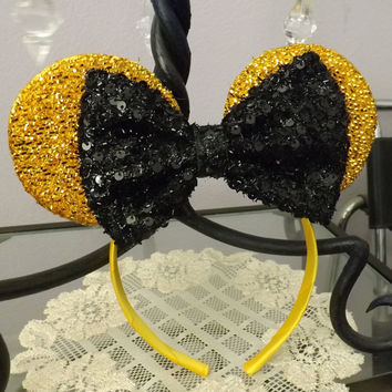 Minnie Mouse Ears Headband Gold Black Bow Mickey Mouse Ears, Disneyland