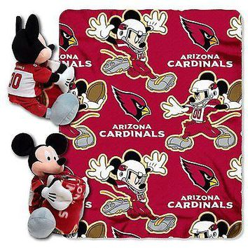 Arizona Cardinals NFL Mickey Mouse Throw and Hugger Pillow Set