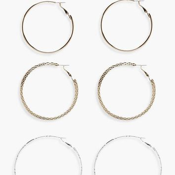 Rosie Mixed Metals Hoop Set 3pk | Boohoo