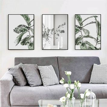 Cuadros Botanical Leafs Wall art Poster Modern Canvas Painting Green Posters and Prints Pictures For Living Room Scandinavian