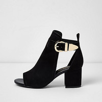 Black wide fit buckle block heel shoe boot