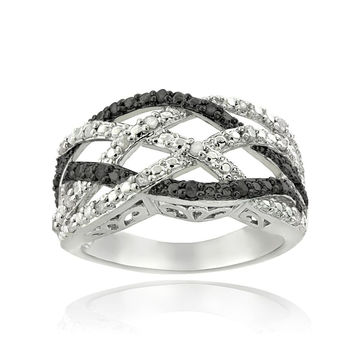 1/4 Ct Black & White Diamond Weave Ring